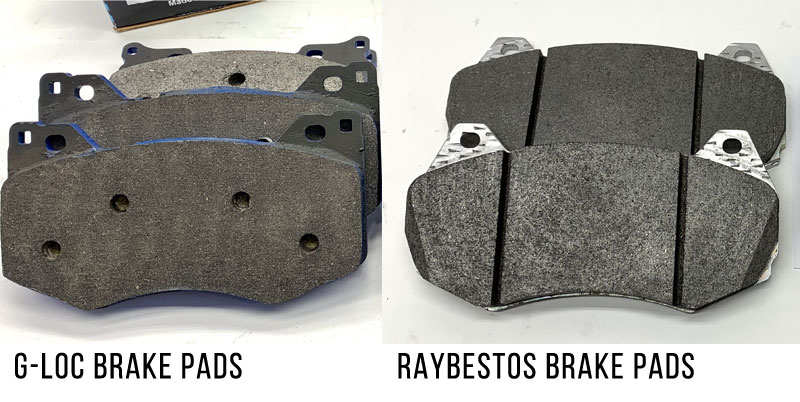 The aftermarket pads have more friction material due to lack of chamfer and sensor notches.