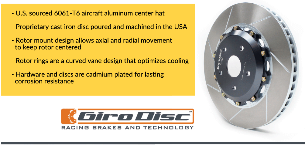 U.S. sourced 6061-T6 aircraft aluminum center hat.  Proprietary cast iron disc poured and machined in the USA. Rotor mount design allows axial and radial movement to keep rotor centered. Rotor rings are a curved vane design that optimizes cooling. Hardware and discs are cadmium plated for lasting corrosion resistance.