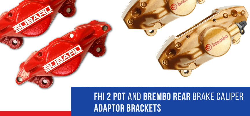 Gold rear Brembo brake calipers and FHI red rear brake calipers adaptor brackets for Subaru